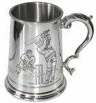 1pt Cricket Pewter Tankard